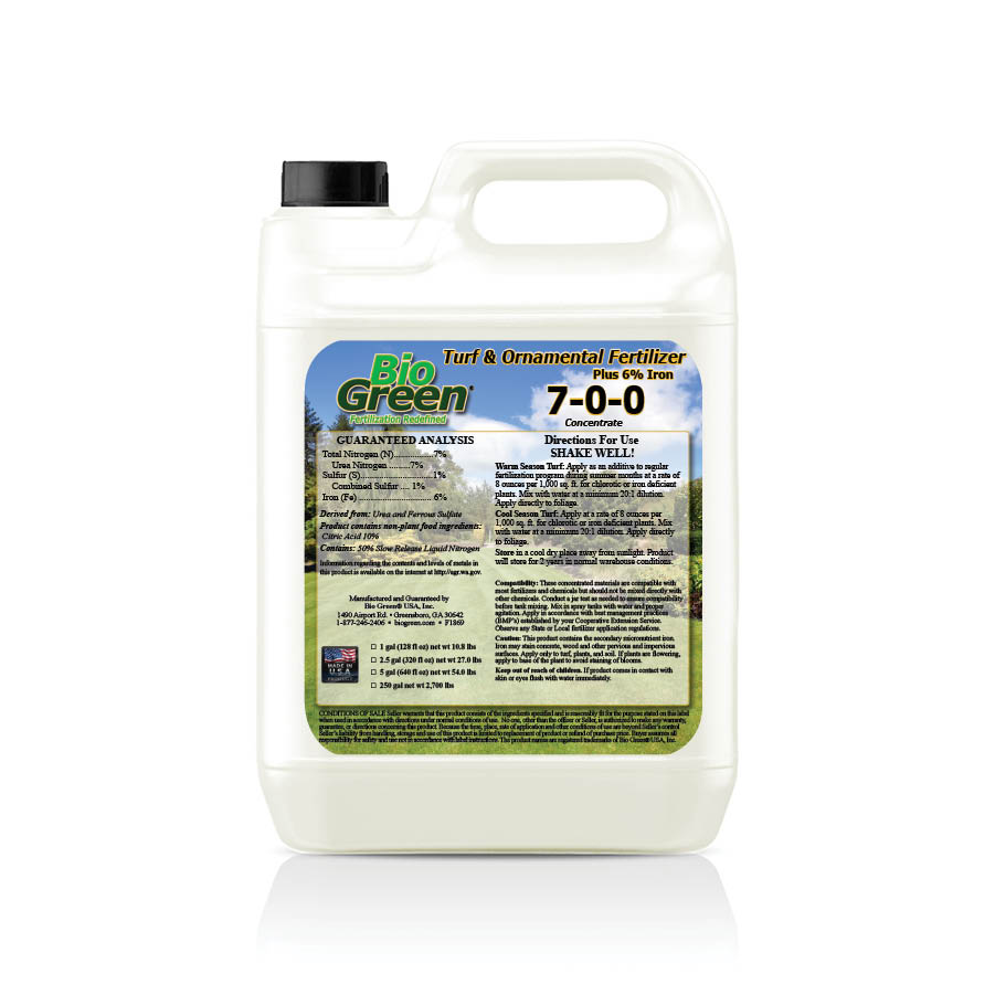 7-0-0 Bio Green® Turf and Ornamental Plus 6% Iron™ Fertilizer